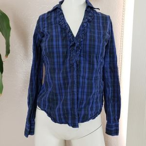 NY& Co. Blue Button Up Long Sleeve flannel top